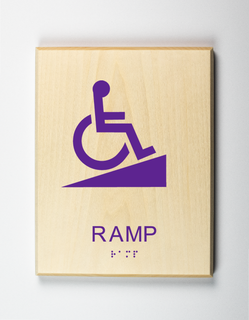 Accessible Ramp Sign, purple
