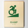 3D printed ADA compliant wooden sign showing accessible ramp