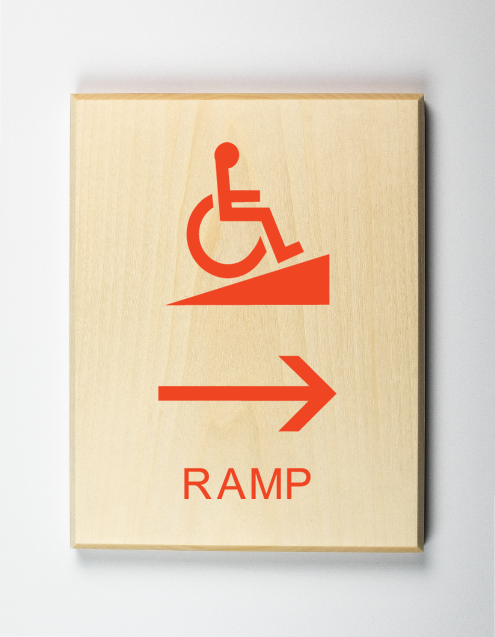 Accessible Ramp to Right Sign
