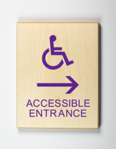 ADA Sign, Accessible Entrance to Left, Sustainable
