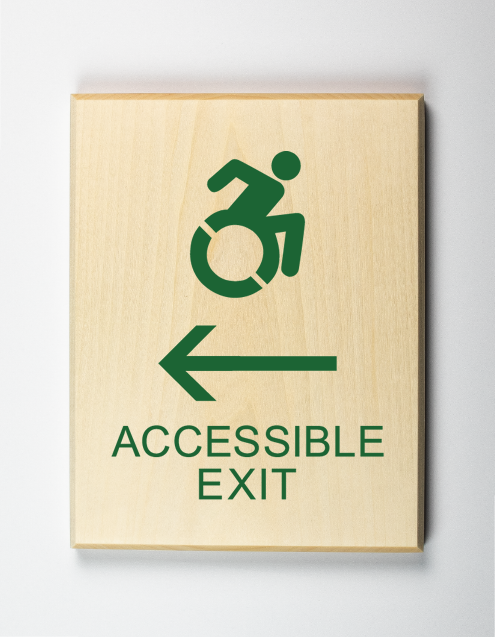 Accessible Exit to Left Sign Using Modified ISA