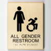 """Eco-friendly ADA braille wood sign using 3D printing that says """"All gender restroom"""