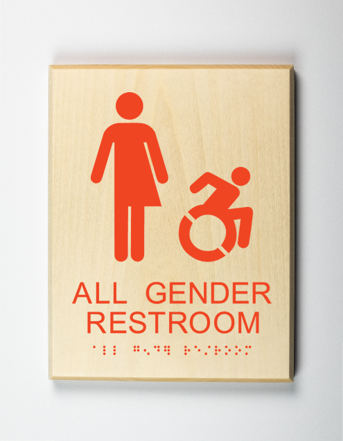 Restroom Sign, orange