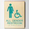 ADA compliant handicap accessible all gender restroom wooden sign
