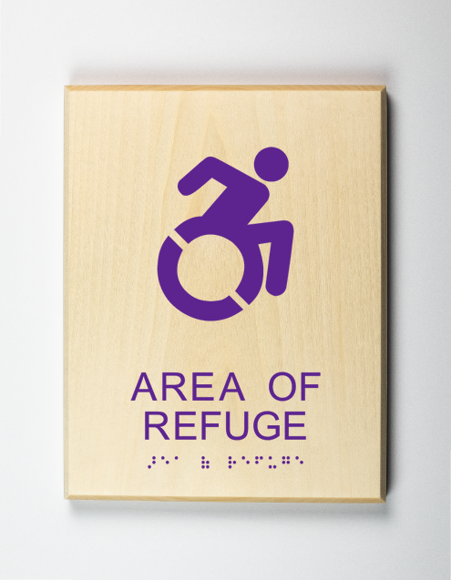 Accessible Area of Refuge Sign, purple