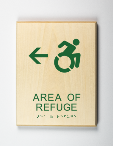 Accessible Area of Refuge to Left Sign