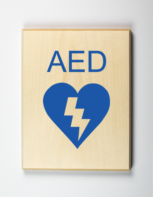 AED Sign, blue