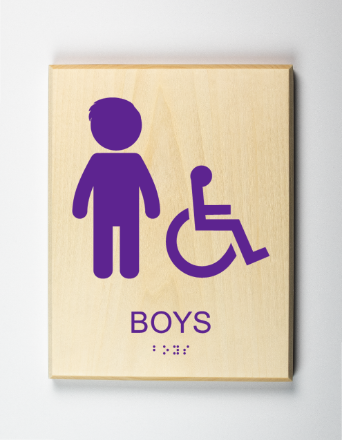 Boys Restroom Sign, Accessible, purple