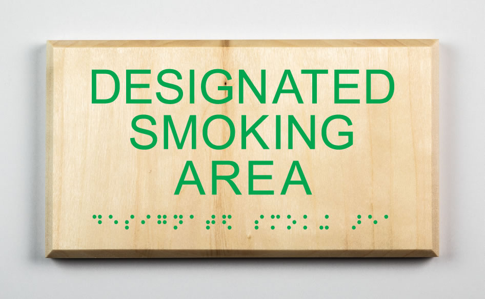 Designated Smoking Area Sign, kelly