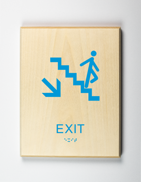 Exit Downstairs Sign, light-blue