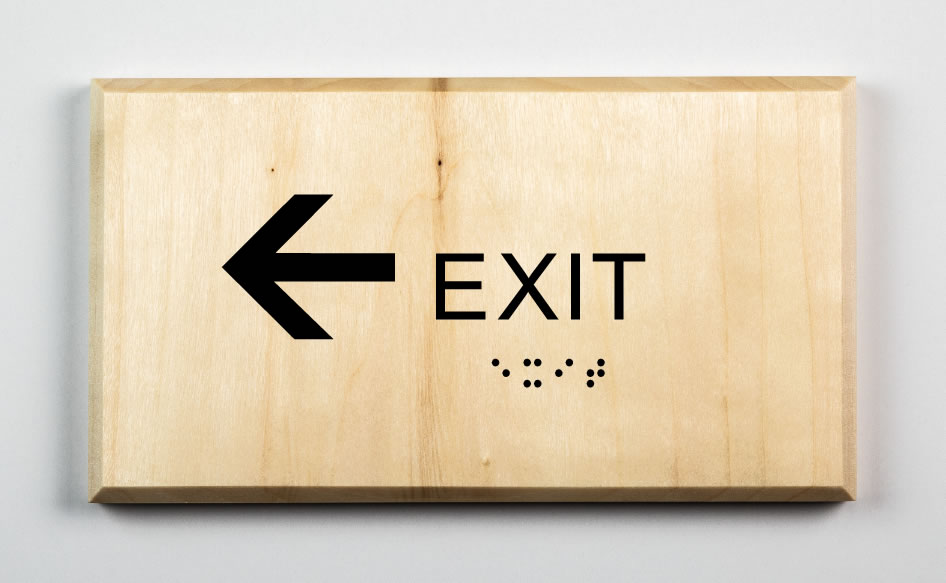 Exit to Left Sign, black