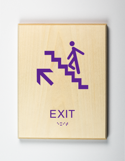 Exit Upstairs Sign, purple