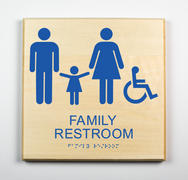 Accessible Family Restroom Sign-blue