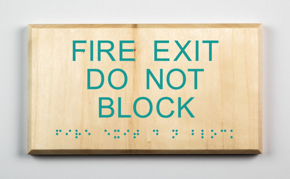 Fire Exit Do Not Block Sign, teal