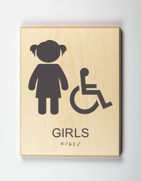 Girls Restroom Sign, Accessible
