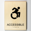 """ADA braille 3D printed to wood, showing that an area is handicap """"accessible"""""""
