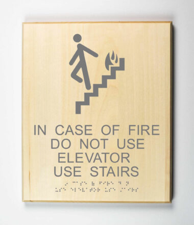 ADA Sign, In Case of Fire Do Not Use Elevator Use Stairs, Environmentally Friendly