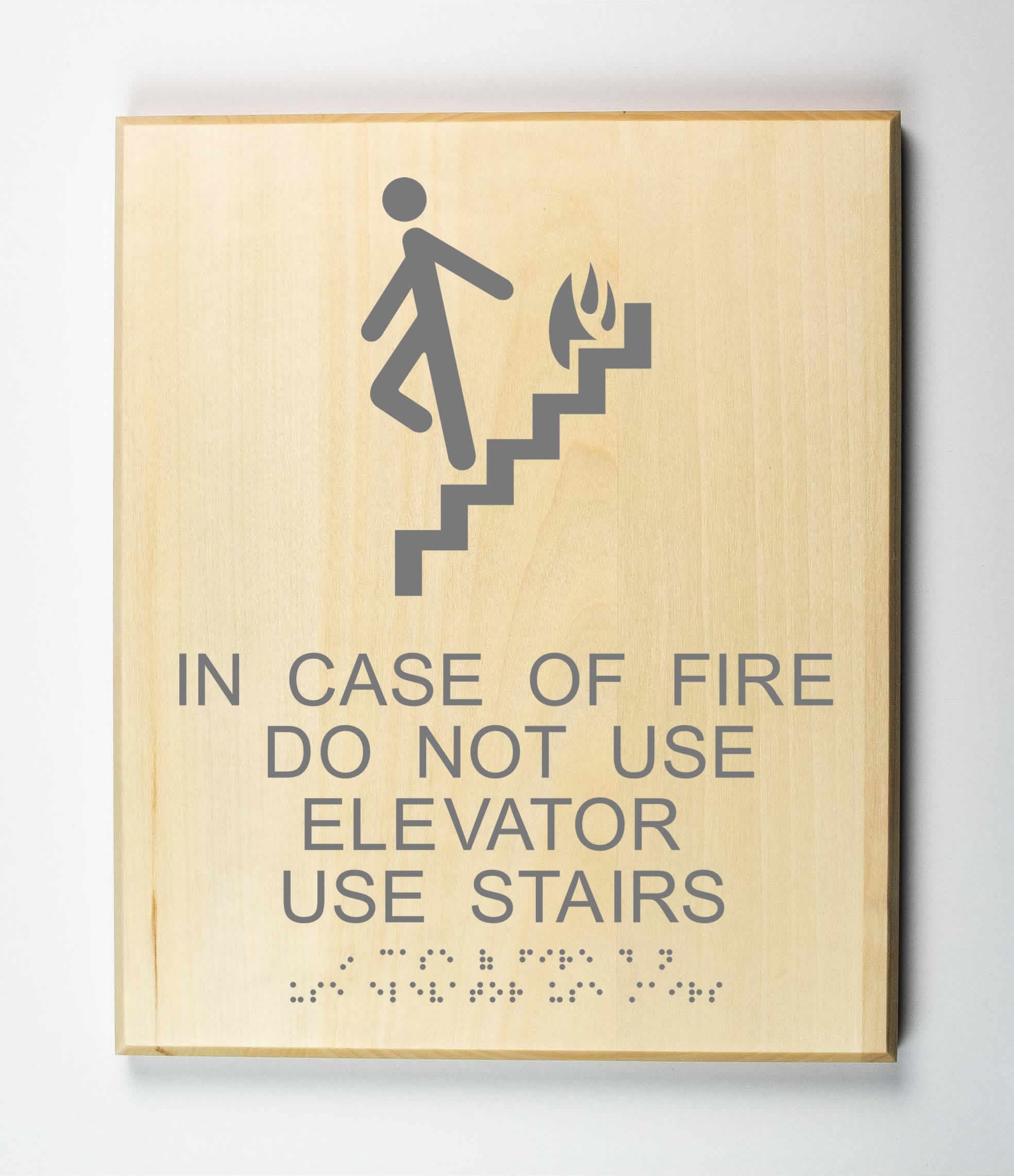 In Case of Fire Do Not Use Elevator, Use Stairs Sign, grey