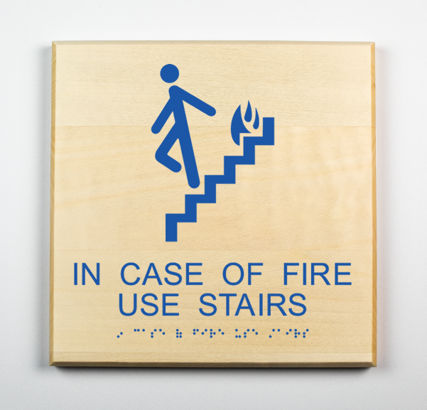 In Case of Fire Use Stairs Sign, blue