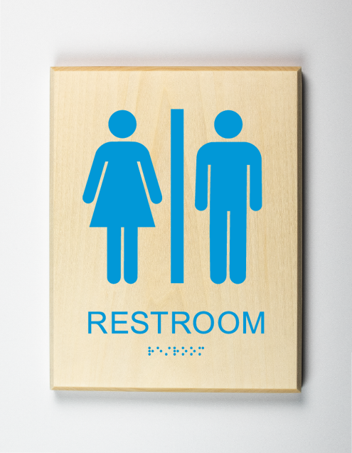 Unisex Bathroom Sign, light-blue