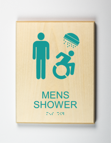 Mens Shower Sign, Accessible, Using Modified ISA