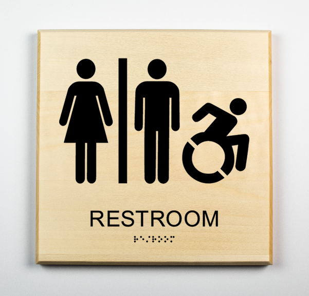 Accessible Unisex Bathroom SignNew AC-black