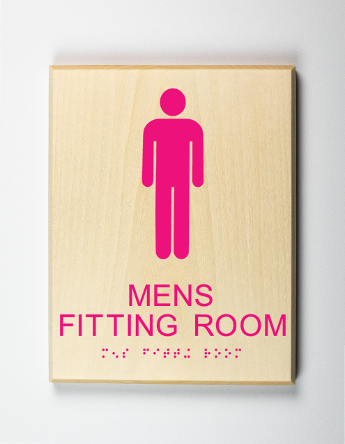 Mens Fitting Room Sign, Using Pictogram