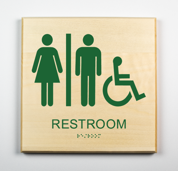 Unisex Restroom Sign, Accessible, forest