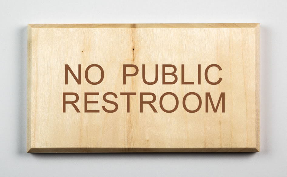 No Public Restroom Sign, brown