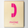 """ADA compliant wooden sign with 3d printed image showing """"phone"""""""