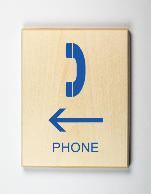Phone to Left Sign, blue