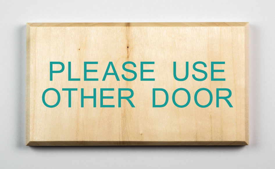 Please Use Other Door Sign, teal
