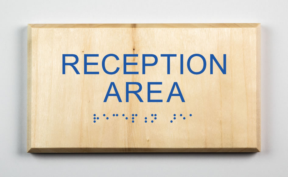 Reception Area Sign-blue