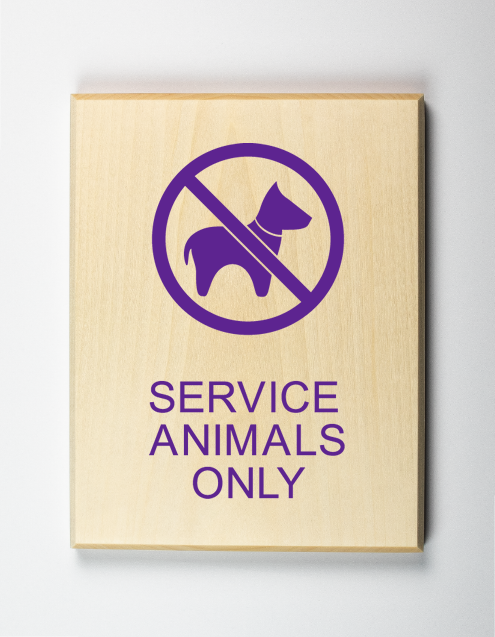 Service Animals Only Sign, purple