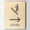 3d printed wooden sign showing stairs are to the right