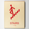 """Eco-friendly ADA braille wood sign using 3D printing that says """"Stairs"""""""
