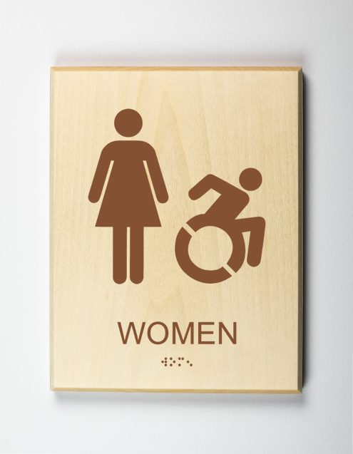 Handicap Accessible Womens Restroom Sign-brown