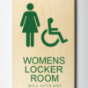 ADA compliant wood sign showing