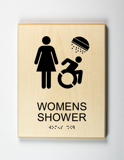 womens shower sign, black