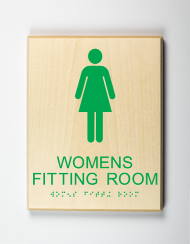 Womens fitting room sign