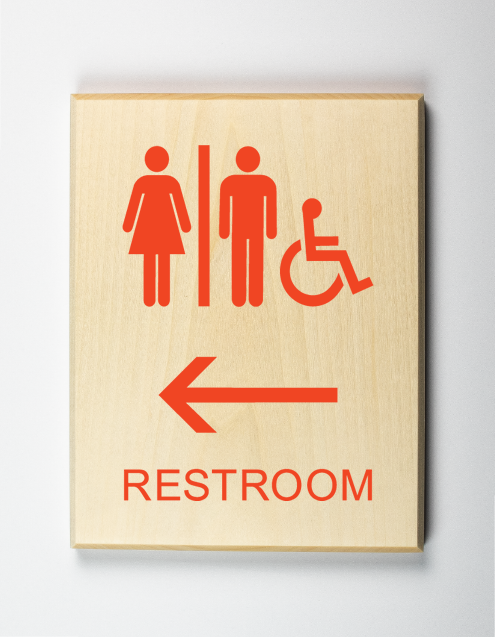 Restroom to Left Sign, orange