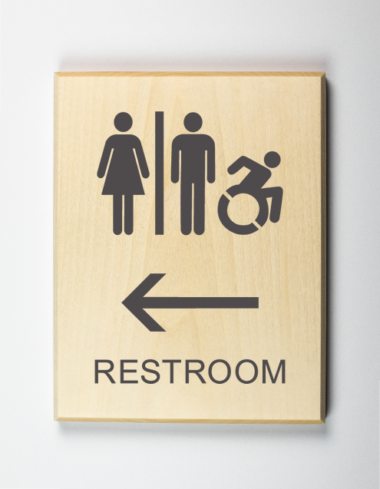 Accessible Restrooms to Left Sign, Using Modified