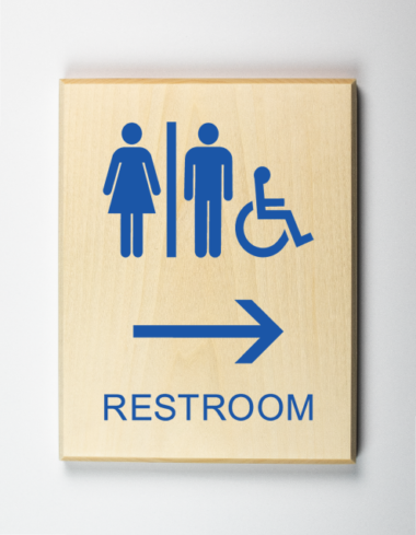 Restrooms to Right Sign