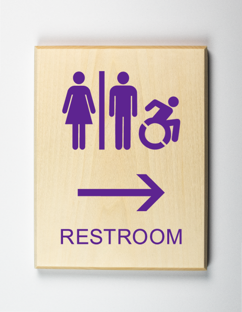 Restroom to Right Sign