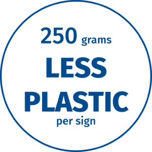 Green Dot Sign uses 250 grams less plastic per sign