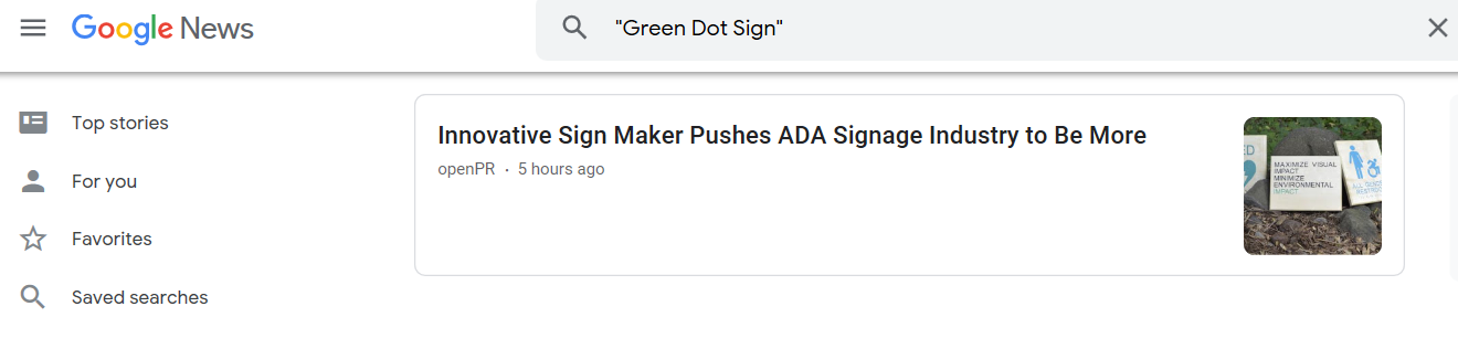 ADA Signs, Sustainable Innovation, Green Dot Sign, Press Release
