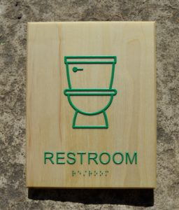 Restroom Sign with Toliet - Green Dot Sign