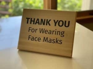 Thank you for wearing face masks sign, standing
