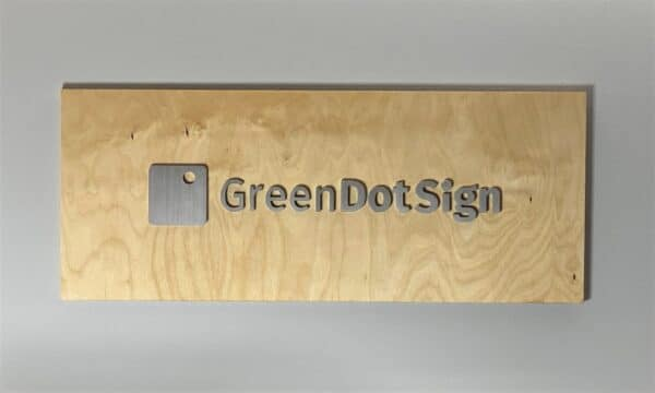 Office Wall Logo Metal and Wood with Green Dot Sign Company Logo